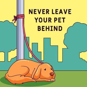 Nunca deje a su mascota detrás de la ilustración con un perro
