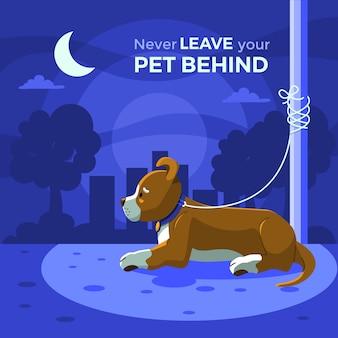 Nunca deje a su mascota detrás del mensaje