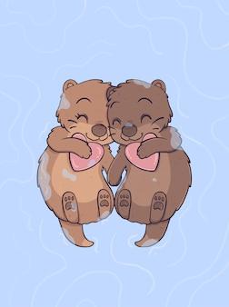 Nutria pareja enamorada flotando y tomados de la mano