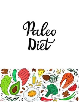 Nutrición cetogénica. banner de dieta paleo con verduras orgánicas, nueces y otros alimentos saludables. dieta baja en carbohidratos. proteína y grasa de la comida keto