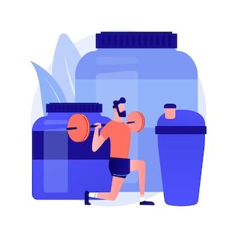 Nutrición deportiva. dieta para mejorar el rendimiento deportivo. vitaminas, proteínas, suplementos. deportes de fuerza, halterofilia, culturismo. ilustración de metáfora de concepto aislado de vector