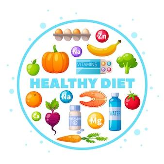 Nutricionista, alimentación saludable, dieta, consejo, caricatura, circular, composición, con, huevos, salmón, calabaza, frutas frescas, verduras