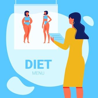 Nutricionista de mujer con el bloc de notas en la mano. menú de dieta