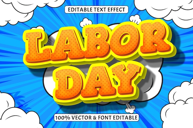 O efecto de texto editable de día 3 dimensiones en relieve estilo cómic