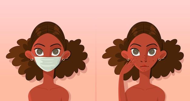 Con o sin ilustración de máscara