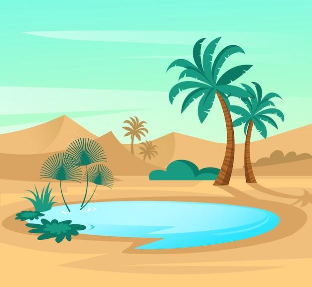Oasis en el desierto. ajardine la escena con las dunas de arena, el lago azul y las palmas.
