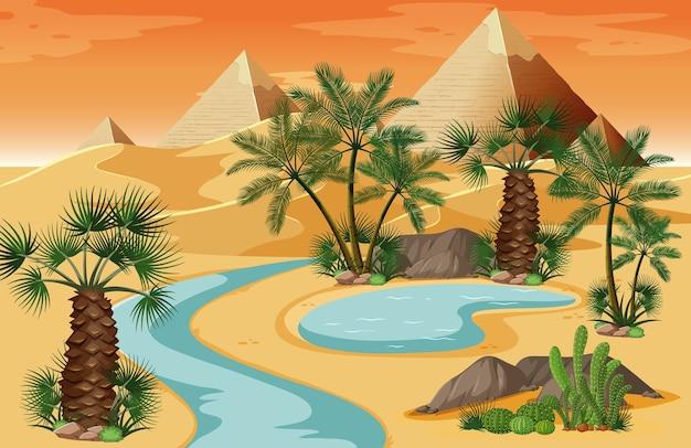Oasis en el desierto con escena de paisaje de naturaleza piramidal