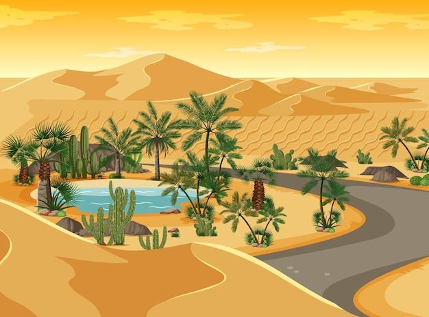 Oasis en el desierto con paisaje de camino largo