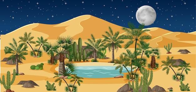 Oasis del desierto con palmeras y paisaje natural de catus en la escena nocturna