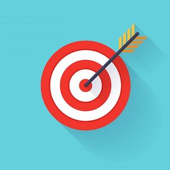 Objetivo blanco o flecha en el icono plano objetivo.