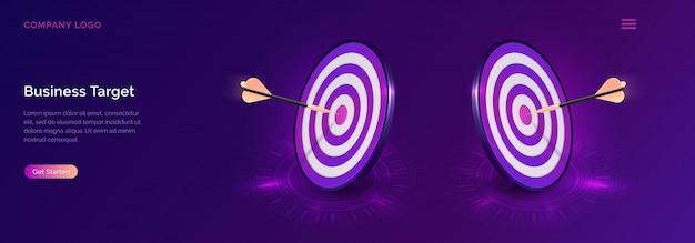 Objetivo comercial isométrico, tablero de dardos con flecha