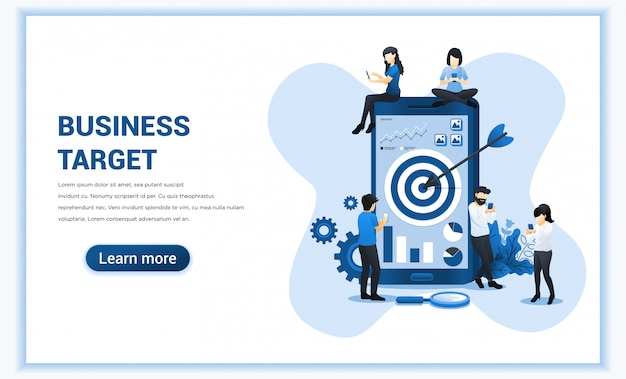 Objetivo comercial con personas que trabajan juntas en un teléfono móvil gigante para alcanzar el objetivo. logro de objetivos, trabajo exitoso en equipo. ilustración plana