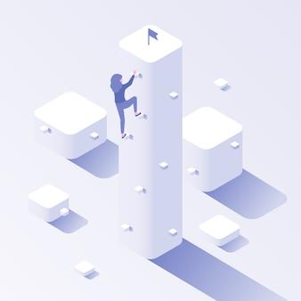 Objetivo de escalada empresarial. ilustración de concepto isométrico de progreso de éxito, ambición de crecimiento profesional y esfuerzo de motivación