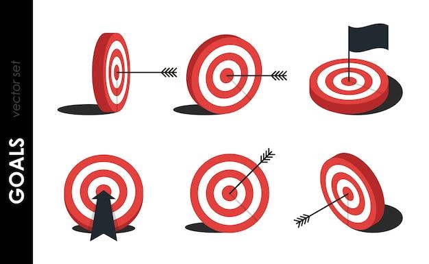 Objetivo establecido. objetivo rojo, flecha, concepto de idea, golpe perfecto, ganador, icono de objetivo objetivo. logotipo de pin abstracto de éxito. concepto de estrategia empresarial y fracaso del desafío. Vector Premium