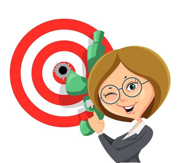 Objetivo exitoso de mujer de negocios logrado, parpadear con una ilustración de arma