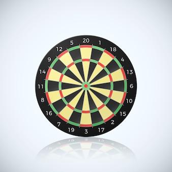 Objetivo de flecha de dardos. ilustración de tablero de dardos con una reflexión sobre fondo blanco