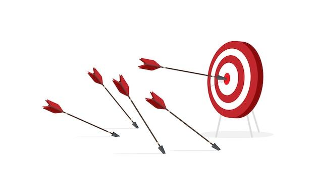 Objetivo con flechas aisladas sobre fondo blanco. golpea el centro del objetivo con una flecha. en un estilo plano