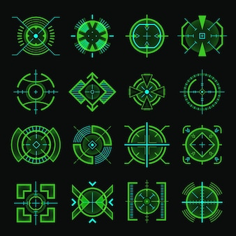 Objetivo de francotirador. plantilla de interfaz de usuario de arma óptica, pistolas militares futuristas, punto de mira satelital, conjunto de objetivos. un