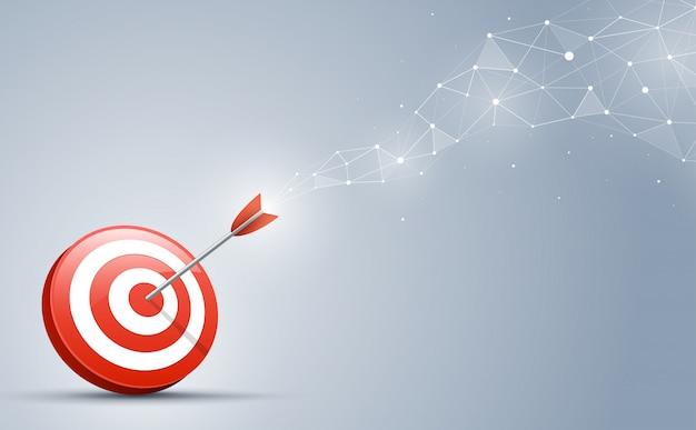 Objetivo de golpear en el centro por la flecha. ilustración vectorial