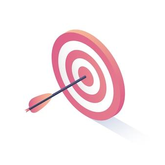 El objetivo isométrico y la flecha están aislados en blanco
