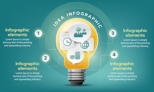 Objetivo de negocio creativo crecer, plantilla de vector infografía con bombilla