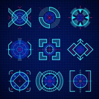 Objetivo óptico. uix of sniper guns juego de armas se centra en la tecnología futurista en estilo hud.