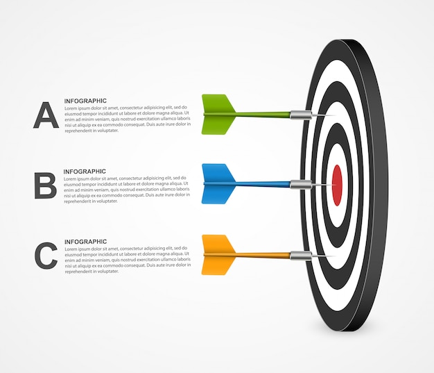 Objetivo de plantilla de infografía concepto realista con dardos.