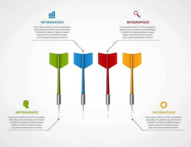 Objetivo de plantilla de infografía con dardos.