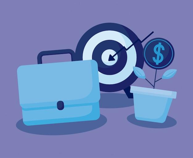 Objetivo con set iconos economía finanzas
