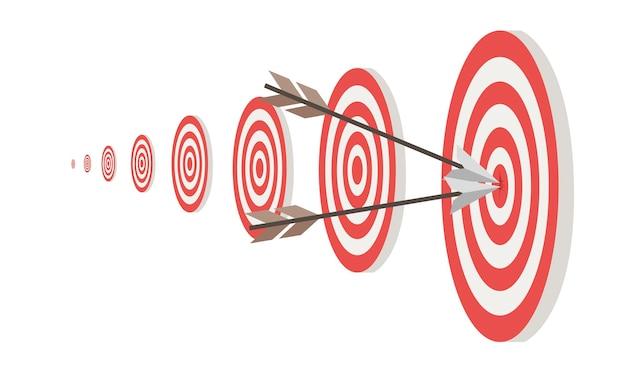 Objetivos y dos flechas en la ilustración de vector plano del círculo central aislado sobre fondo blanco.