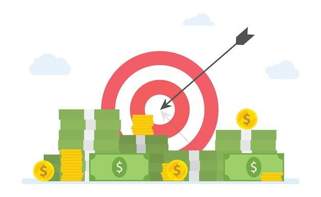Objetivos financieros objetivos con pila de dinero en efectivo y monedas de oro - vector