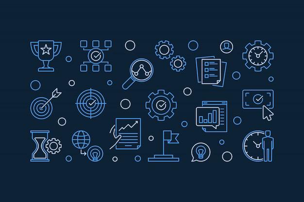 Objetivos de negocio vector esquema moderno horizontal ilustración