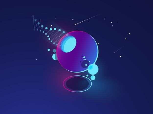 Objeto abstracto futurista, modelo de sistema espacial, órbita, tecnología digital.