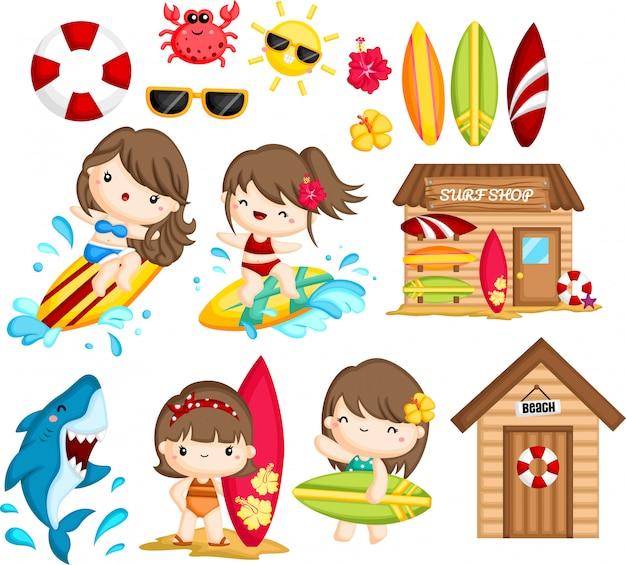 Objeto y actividades relacionadas con el surf femenino