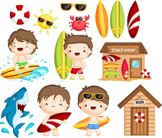 Objeto y actividades relacionadas con el surf del hombre