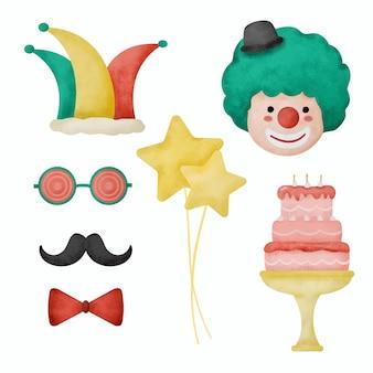Un objeto de acuarela con temática de fiesta canival, un concepto para decorar un lugar o hacer tarjetas de invitación. ilustración de dibujos animados en estilo acuarela