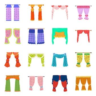 Objeto aislado del logo de lambrequin y cortinas. conjunto de símbolo stock lambrequin y decoración para web.