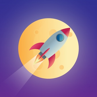 Objeto cohete espacial sobre la ilustración de diseño de vector de luz de luna