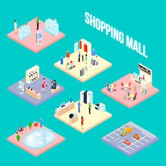 Objeto conjunto de centro comercial isométrico con algunas muestras de elementos interiores de tiendas, ilustración vectorial
