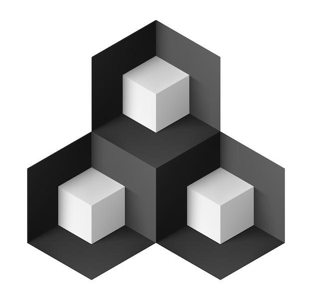 Objeto geométrico abstracto con cubos blancos para diseño