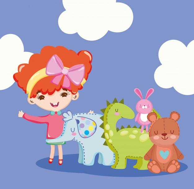 Objeto de juguetes para que los niños pequeños jueguen dibujos animados, linda niña con animales oso elefante dinosaurio y conejo ilustración