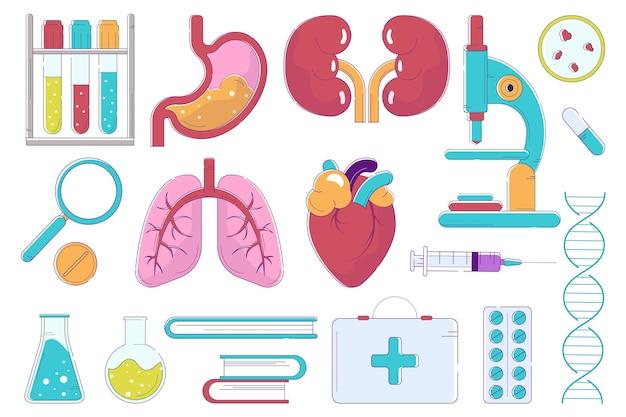 Objeto de medicina, aislado en conjunto blanco, ilustración vectorial. símbolo de salud con pulmones, corazón, órganos del estómago y tubo médico clínico, jeringa. estetoscopio de laboratorio, lupa, colección.