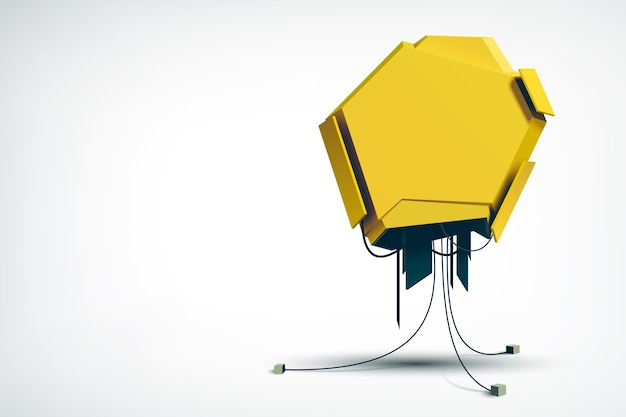 Objeto técnico de alta tecnología realista como la publicidad de vallas industriales amarillas en el blanco aislado