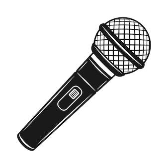 Objeto de vector de micrófono o elemento de diseño en estilo vintage monocromo aislado sobre fondo blanco
