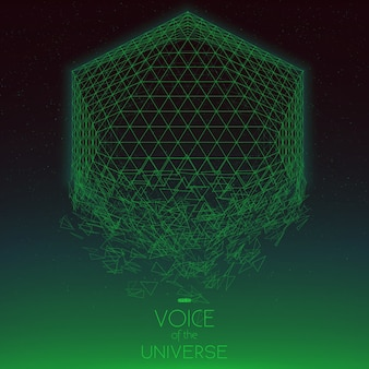 Objeto verde espacial estrellado. fondo de vector abstracto con estrellas diminutas. resplandor de sol desde el fondo. geometría del espacio abstracto.