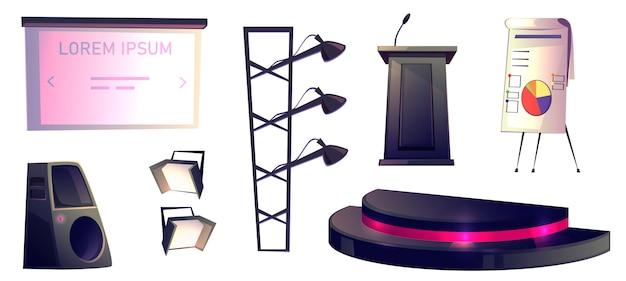 Objetos para conferencia, tribuna, escenario y luz.