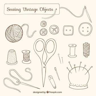 Objetos dibujados a mano de costura vintage