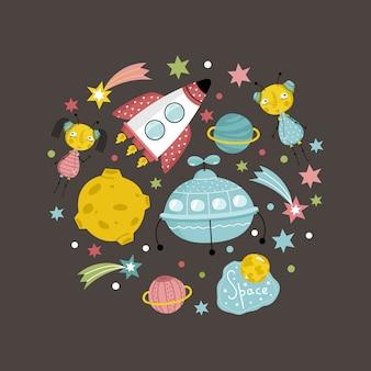 Objetos espaciales en colección de vectores de estilo de dibujos animados
