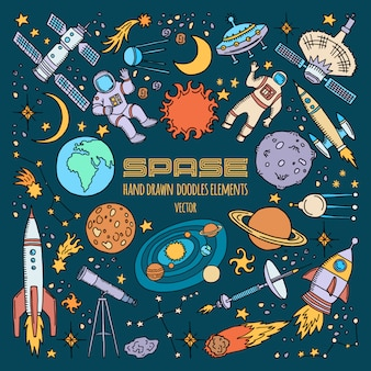 Objetos espaciales en el universo. vector dibujado a mano ilustración.