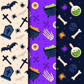Objetos espeluznantes patrones sin fisuras de diseño plano de halloween